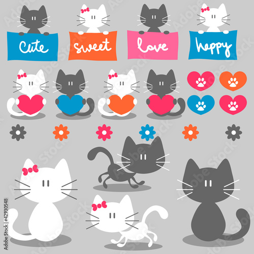 Cute romantic couple of cats set elements