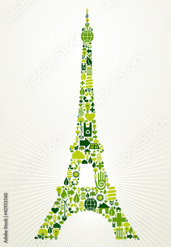 Paris go green concept illustration