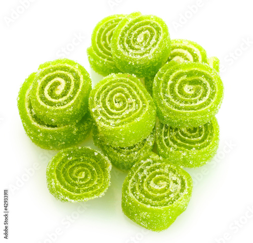 green jelly candies isolated on white.