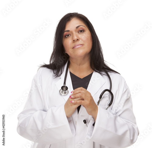 Concerned Female Hispanic Doctor or Nurse