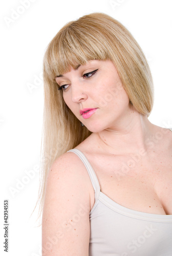Portrait of beautiful woman with lowered eyes