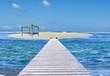 lit de soleil sur îlot de sable