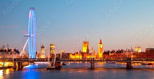 Leinwanddruck Bild London Eye Panorama
