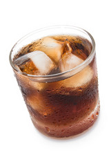 cup of iced cola with clipping path