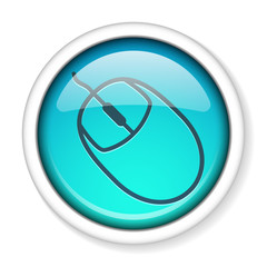 Computer mouse icon round glossy shiny button. EPS10.