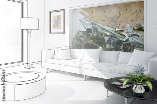 White Room with Artwork - draw