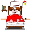 A cartoon dog lying in bed