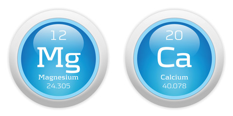 Magnesium and Calcium blue glossy web buttons