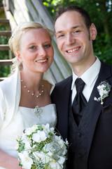 happy bridal pair