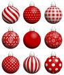 9 Dark Red/Silver Christmas Balls Pattern