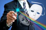 ฺBusinesman with white drama masks poster
