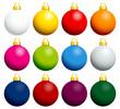 12 Colorful Christmas Balls Uni Gold