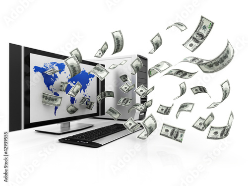 Laptop and flying cash, earning money concept
