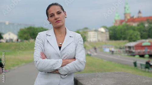 Portrait of serious looking businesswoman in the city
