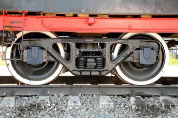 Iron wheels of the locomotive