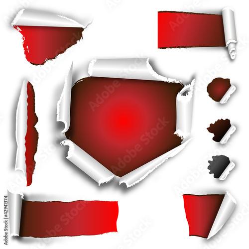 aufgerissen -gestaltungsset rot