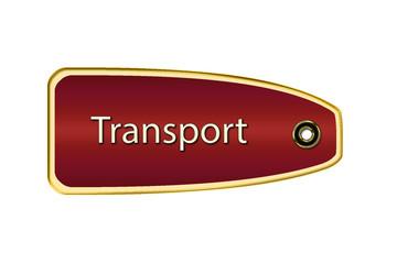 Etiqueta roja oro transport