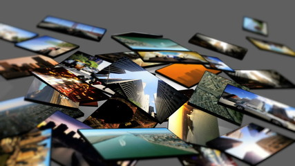 Montage of 3D Tablet Images Scenes USA Cities