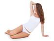 Attraktive junge Frau in weißer Unterwäsche