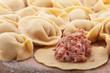 Meat dumplings on a cutting board