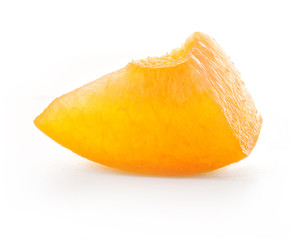 Slice of apricot, isolated on white background