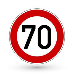 Verkehrszeichen - Höchstgeschwindigkeit 70 km/h
