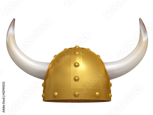 Viking Helmet isolated on white. 3D image