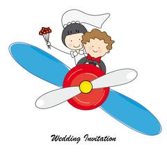 Tarjeta invitación boda. Novios volando en avioneta
