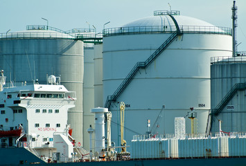 Oil tanker in front of oil station
