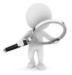 Leinwandbild Motiv 3d white people with a magnifying glass