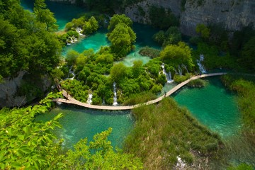 Aerial view at Plitvice lakes