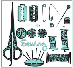 two-tone vector set sewing accessories