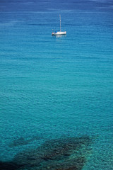 Catamaran in the Mediterranean turquoise Sea
