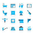 Construction and building equipment Icons - vector icon set 2