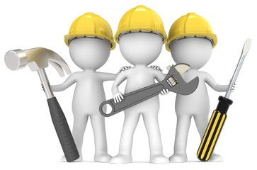 Service and repair. 3D little human character The Builders X3