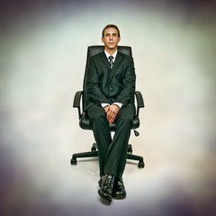 man in office chair