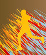 Silhouette of runner vector in front of colorful background