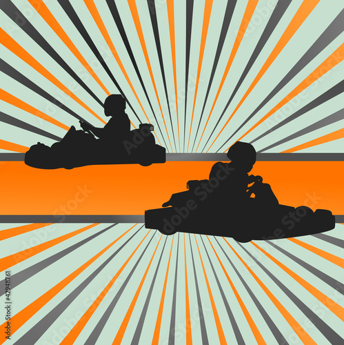 Go cart drivers race background burst vector
