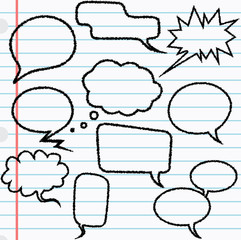Speech bubbles with scribble effect