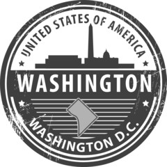 Stamp with name of Washington D.C., Washington, vector