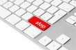 "Computer keyboard with red ""stop"" button isolated on white"