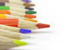 Colorful pencils crayons on white background closeup