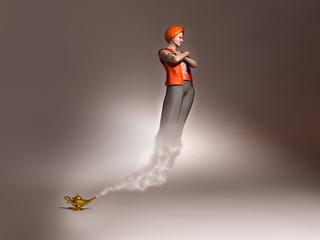 Genio saliendo de una lámpara mágica