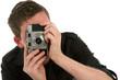 photographer holding film camera