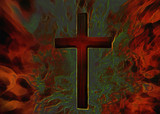 3D Fiery Christian Cross