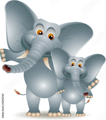 romance adult elephant with baby elephant
