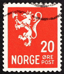 Postage stamp Norway 1937 Lion Rampant, Norwegian Lion