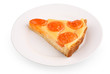 apricot tart piece on a white plate with clipping path