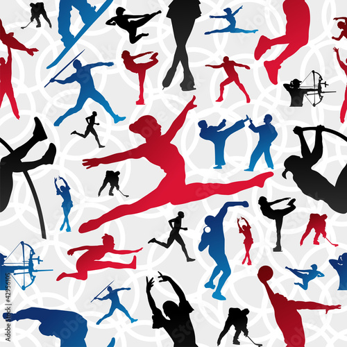 Sports silhouettes pattern