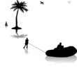 Man skiing on water near the palm trees silhouette